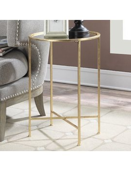 Convenience Concepts Gold Coast Julia Mirrored End Table, Gold by Convenience Concepts