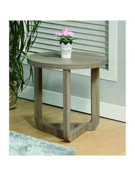Modern Style Round End Table, Gray by Benzara