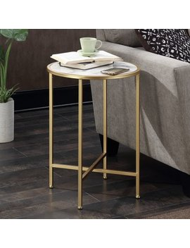 Convenience Concepts Gold Coast Faux Marble Round End Table by Generic