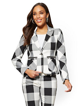 7th Avenue   One Button Jacket   Gingham by New York & Company
