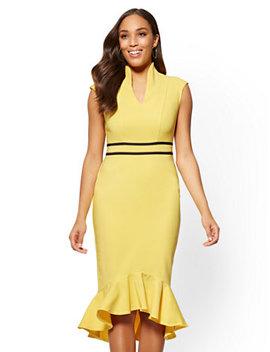7th Avenue   Piped Sheath Dress   All Season Stretch by New York & Company