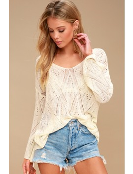 Hanover Sheer Ivory Bell Sleeve Sweater by Lulu's