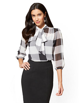 7th Avenue   Bow Accent Blouse   Gingham by New York & Company