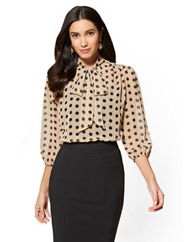 7th Avenue   Bow Accent Blouse   Dot Print by New York & Company