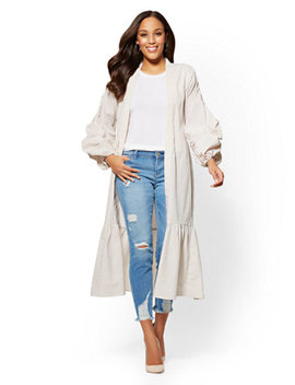 Ruched Sleeve Poplin Kimono   Tan Stripe by New York & Company