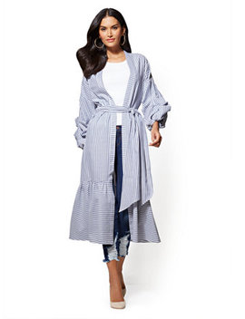 Ruched Sleeve Poplin Kimono   Blue Stripe by New York & Company