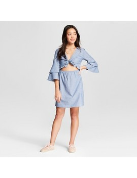 Women's Front Tie Dress With Tiered Sleeves   Le Kate (Juniors') Blue by Le Kate