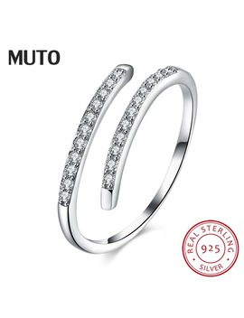 Muto Simple Geometric Opening 925 Sterling Silver Ring Women 2017 Fashion Popular Adjustable Girl Fine Jewelry Svjz6011 by Muto Official Store