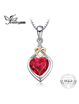 Jewelry Palace Love Knot Heart 2.5ct Created Ruby Pendant 18 K Yellow Gold 925 Sterling Silver Brand Fine Jewelry Without A Chain by Jewelrypalace Gemstones