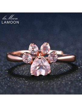 Lamoon Bear's Paw 5mm 100 Percents Natural Pink Rose Quartz Ring 925 Sterling Silver Jewelry Rose Gold Romantic Wedding Band Lmri027 by Lamoon Factory Store