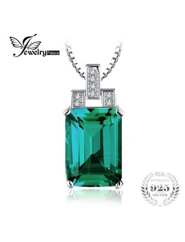 Jewelry Palace Luxury 6ct Created Emerald Pendant 925 Sterling Silver Pendant Fashion Jewelry Without Chain by Jewelry Palace Official Store