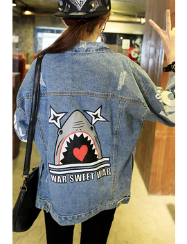 Free Shipping 2017 Back Pattern Young Girl  Denim Outerwear Bf Harajuku Loose Casual Jeans Jacket by Yunting Official Store