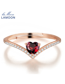 Lamoon Heart Rings For Women Romantic Love 100 Percents Natural Red Garnet 925 Sterling Silver Jewelry Wedding Bands Ring Anillos Ri003 by Lamoon Jewellery   Cc Store