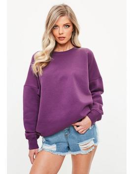 Purple Loopback Oversized Crew Neck Sweatshirt by Missguided