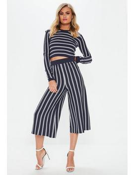 Navy Stripe Knitted Crop Top by Missguided