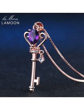 Lamoon Crown Key Pendant Necklace 6x4mm 0.4ct Natural Teardrop Amethyst 925 Sterling Silver Jewelry Rose Gold Color S925 Lmni004 by Lamoon Factory Store