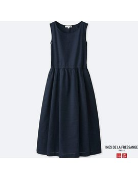 Women Idlf Linen Blend A Line Sleeveless Dress by Uniqlo