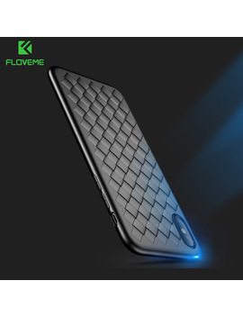 Floveme Super Soft Phone Case For I Phone 8 Luxury Grid Weaving Cases For I Phone 6 6s 7 8 Plus X Cover Silicone Accessories Black by Floveme Official Flagship Store