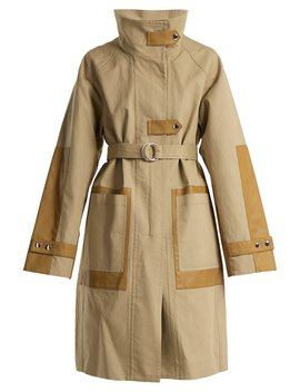 Contrast Panel Tie Waist Cotton Blend Coat by Yves Salomon