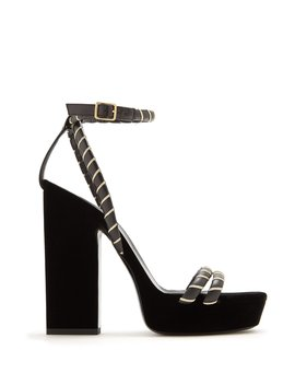 Debbie Platform Velvet Sandals by Saint Laurent