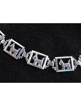 Vintage Sterling Silver Scotty Dog Panel Link Bracelet Art Deco by Etsy