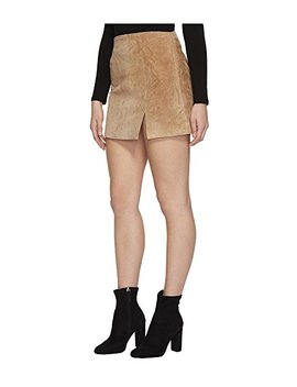 Real Suede Mini Skirt In Desert Sand by Blank Nyc