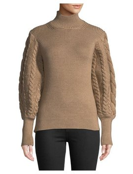 Turtleneck Chunky Cable Knit Sweater by Caroline Constas
