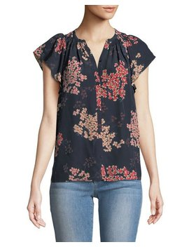Phlox Floral Georgette Button Front Blouse by Rebecca Taylor