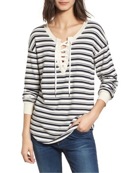 Stripe Lace Up Tee by Splendid