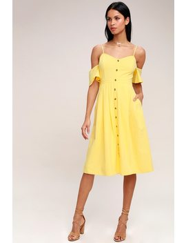 I've Got Love Yellow Off The Shoulder Midi Dress by Lulus
