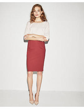 High Waisted Exposed Seam Pencil Skirt by Express