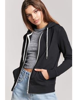 Zip Front Hoodie by F21 Contemporary