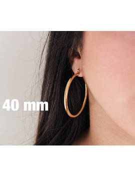 Thick Gold Plated Hoops Earrings~Hoops Earrings~Circle Earrings~90s Hoops~Gift For Her~Large Hoops~Trendy Hoops~Medium Hoops~Big Gold Hoops by Etsy