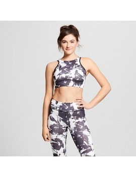 Women's High Neck Painterly Floral Print Sports Bra With Back Cut Out   Joy Lab™ Black/White by Joy Lab™