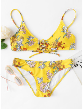 Flower Print Lace Up Front Bikini Set by Sheinside