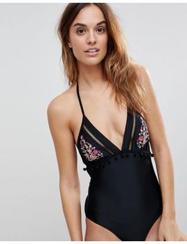 Boux Avenue Faro Embroidered Halter Neck Swimsuit by Boux Avenue