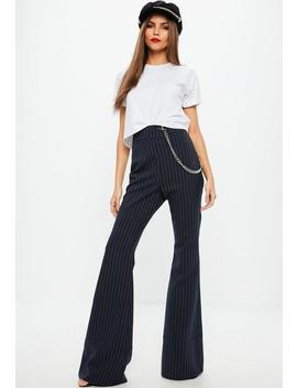 Navy Pinstripe Flared Trousers by Missguided