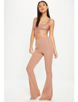 Camel High Waist Bandage Flared Trousers by Missguided