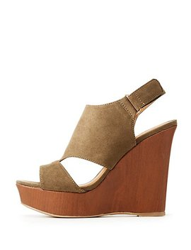 Peep Toe Wedge Sandals by Charlotte Russe