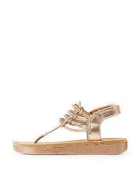 Bamboo Metallic Caged Sandal by Charlotte Russe