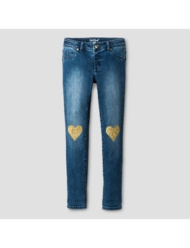 Girls' Jeans Jeggings With Heart Knee Patches   Cat & Jack™ Medium Blue by Cat & Jack™