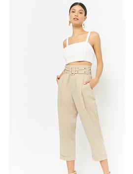 Belted Cropped Pants by Forever 21