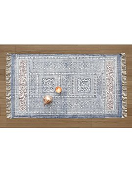 Cotton Area Rug Traditional Tribal Floor Entryway Mat Carpet Rug For Kitchen Living Room Bedroom Block Printed Handwoven Decorative Indoor Home Decor (Design 1) by Store Indya