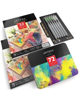 Arteza Watercolor Pencils, Watercolor Pad & Water Brush Pens Bundle (Set Of 4) by Arteza