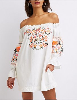 Off The Shoulder Embroidered Shift Dress by Charlotte Russe