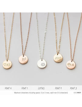 Customized Circle Necklace, Simple Everyday Necklace, Delicate Disc Necklace, Dainty Gold Tag, Silver, 14k Gold Fill, Engraved Disc • Ndv90 by Etsy