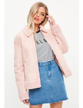 Pink Faux Fur Trim Aviator Jacket by Missguided