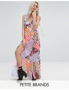 Jaded London Petite Mix Print Maxi With Bow Tie Shoulder Detail by Jaded London Petite