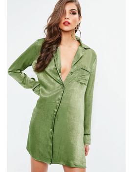 Khaki Pj Shirt Dress by Missguided