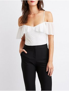 Lace & Mesh Ruffle Cold Shoulder Bodysuit by Charlotte Russe